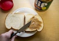 Photo illustration of a peanut butter sandwich.