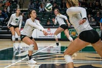 Ohio's Vera Giacomazzi digs to hit the ball during the match versus Kent State on Thursday, November 7, 2019, in The Convo. The Bobcats won the game 3-0. (FILE)