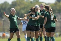 The Bobcats celebrate after scoring a goal in the game against Central Michigan on September 24, 2017. The Bobcats won 3-0.