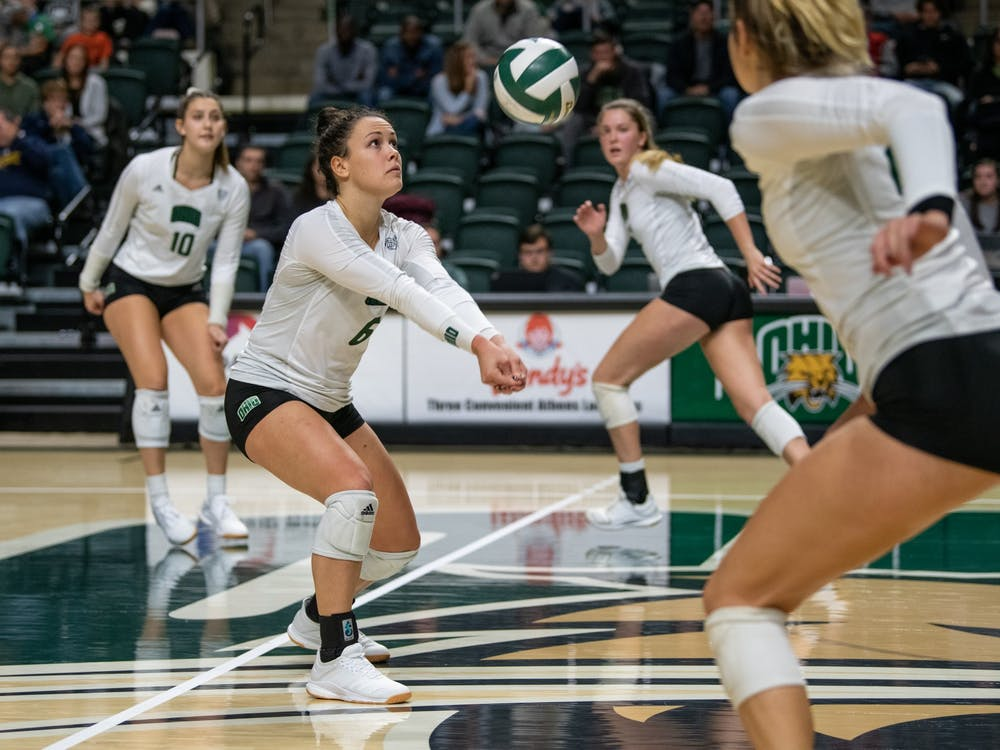 Ohio's Vera Giacomazzi digs to hit the ball during the match versus Kent State on Thursday, November 7, 2019, in The Convo. The Bobcats won the game 3-0.