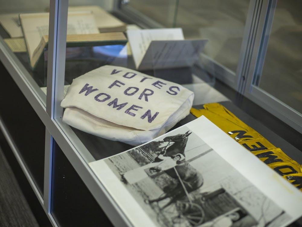 The Women Pioneers Exhibit in Alden Library on Feb. 2, 2020.