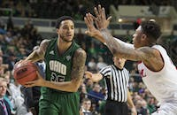 Ohio's Jordan Dartis (#35) looks for an open teammate during Ohio's game against Miami on Feb. 17. (FILE)
