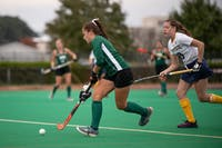 Claire Buckey runs to hit the ball during the Ohio versus Kent State game on Oct. 19.