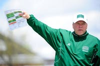 New defensive coordinator Ron Collins points before a game. (Provided via Ohio Athletics)