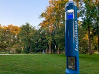 A blue light emergency phone located by Emeriti Park.