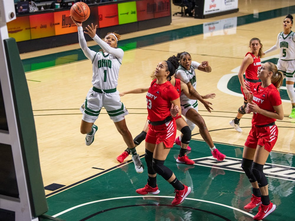 Ohio's Cece Hooks goes for a layup during Ohio's game versus Liberty On Wednesday, Nov. 25, 2020, in The Convo. Ohio won 76-72.