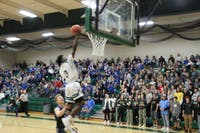 Elijah Williams goes up for a layup on a fastbreak in Athens' 45-35 loss to Gallia Academy.