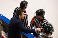 Sean Hogan talks to the referees during the Bobcats' game against Lindenwood on Nov. 17, 2017. (FILE)