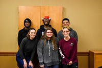 The executive board for the We Are First club from left to right, back to front row: Dontevion  Brown (treasurer), Rayshawn Smith (president), Geonavin Hernandez (social media director),  Faye Solma (creative coordinator), Emily Simpson (vice president) and Cortney Rosati (secretary)