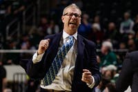 Head coach Jeff Boals cheers during a conference game against Central Michigan University at the Convo on Tuesday, Feb. 18, 2020. (FILE)
