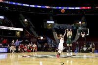 Ohio senior guard Taylor Agler (#0) puts up a potential game-tying three with just seconds left in the Bobcats' 69-66 loss to Miami in the quarterfinals of the MAC Tournament on Wednesday, March 7.