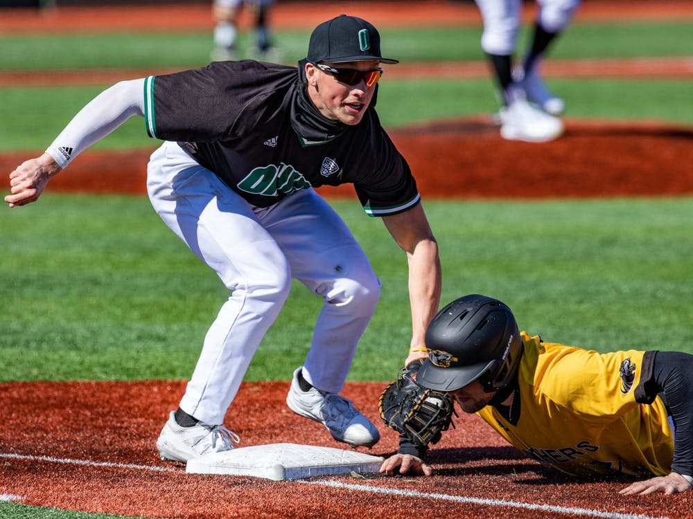 Ohio's Harry Witwer-Dukes strikes out Milwaukee's Ty Olejnik's return back to first base on Sunday, March 7, 2021.