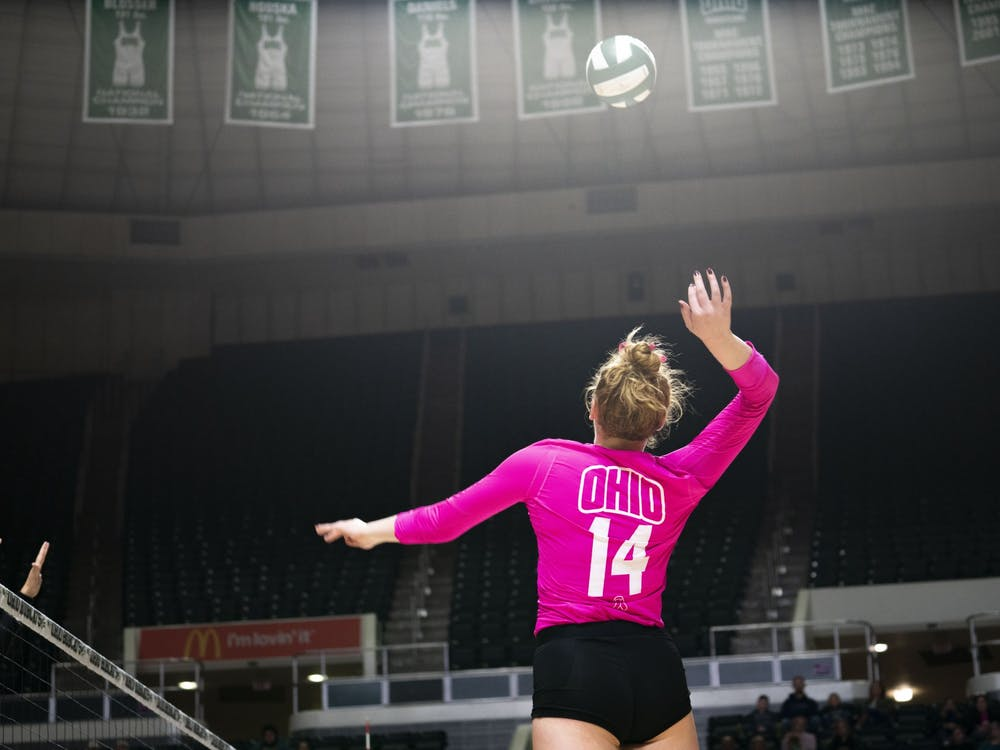 Ohio University outside hitter Lauren Park prepares to hit the ball in a game against Ball State in Athens, Ohio on October 19, 2019.  (FILE)