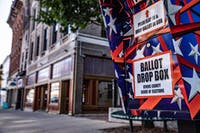 An Athens County Board of Elections ballot drop box outside its office on Court Street in Athens, Ohio.