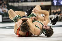 Ohio's  Logan Stanley wrestles Campbells's Austin Murphy during a match on Nov. 10, 2019, in The Convo. (FILE)