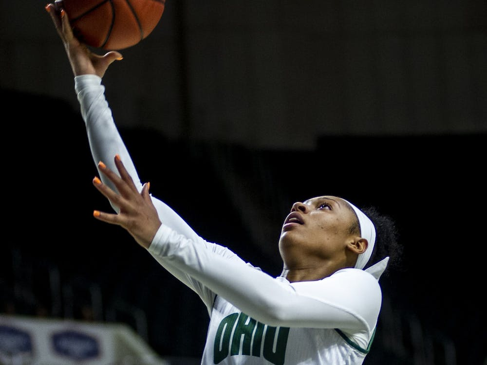 Ohio's CeCe Hooks (#1) makes a fast break layup during the home game on Saturday, Feb. 8, 2020 against Kent State University. The bobcats won 63-57.