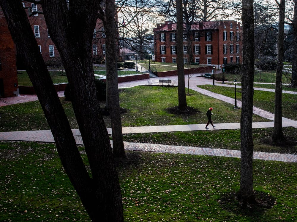 In a moment of daylight on a dense, cloudy day, the College Green's path is crossed once again by a student in the beginning of Ohio University's second semester on Wednesday, Jan. 20, 2021. (FILE)