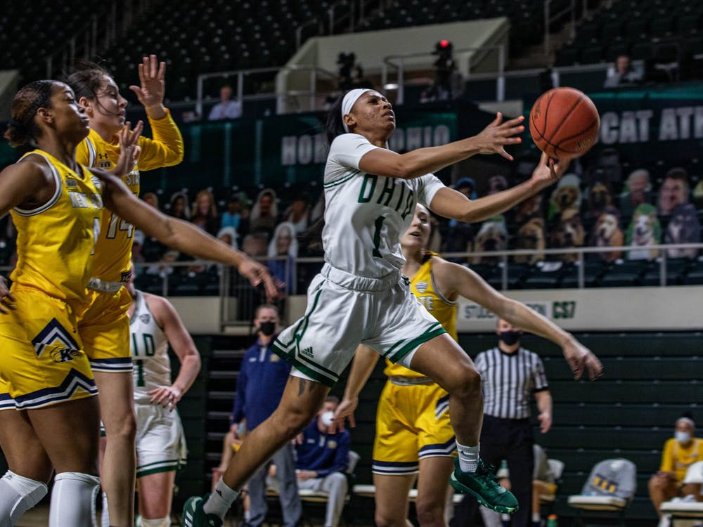 Ohio guard Cece Hooks (#1) jumps for a layup in a match against Kent State at the Convocation Center on Wednesday, Feb. 3, 2021.