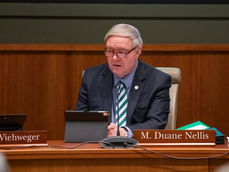 FILE: Ohio University president Duane Nellis listens to a speaker during the board of trustees meeting on Thursday in Walter Hall (The BoT is currently not meeting in Walter Hall, but virtually due to the COVID-19 pandemic).