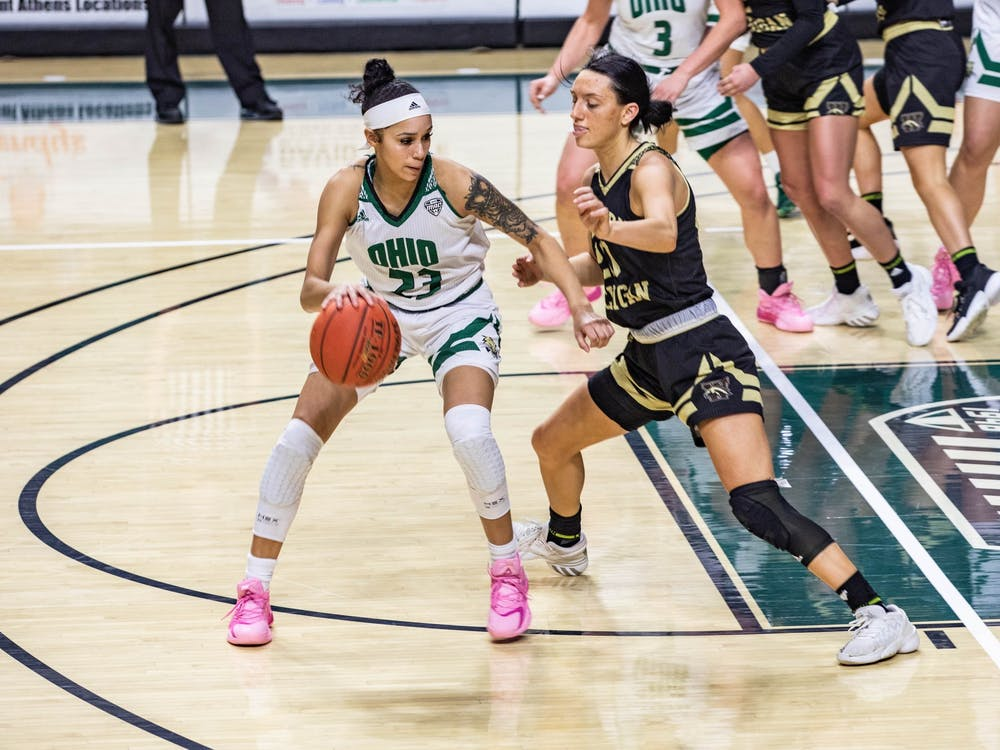 Ohio guard Jasmine Hale (#23) dribbles around Western Michigan's guard Sydney Shafer (#20) in a match leading Ohio to a 74-52 victory on Saturday, Feb. 13, 2021.