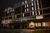 Two students enter Robert Glidden Hall on Jan 16.