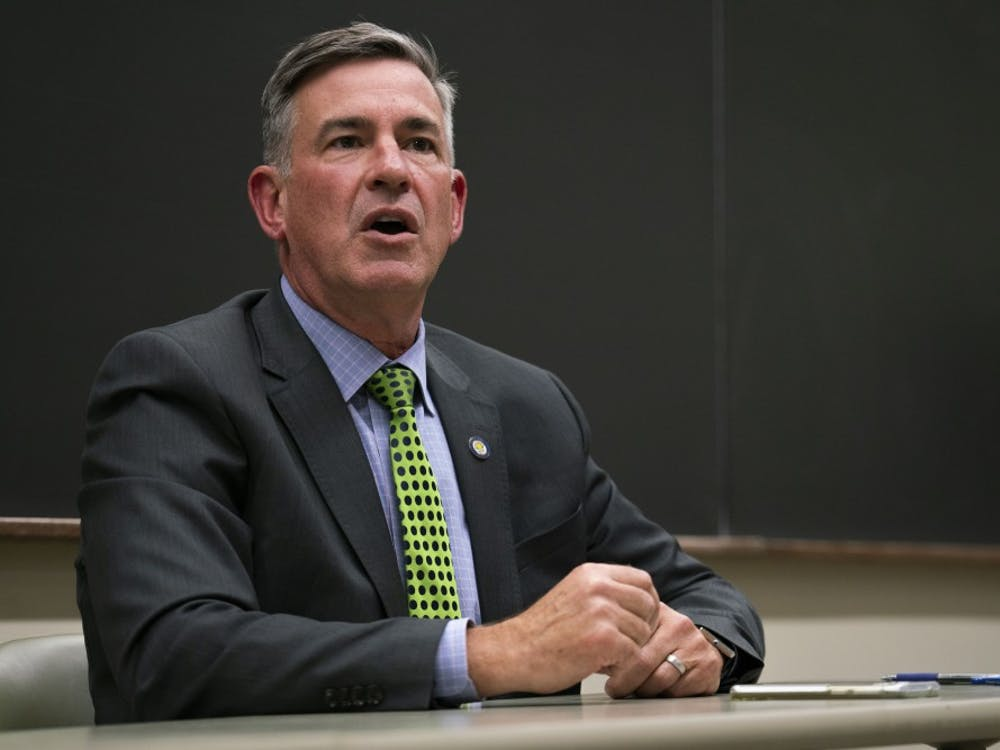 Athens Mayor Steve Patterson speaks at the mayoral debate on Oct. 17, 2019, in Athens, Ohio. (FILE)