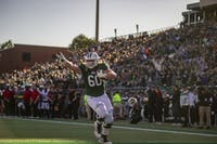 Ohio University offensive lineman, Austen Pleasants (#60), scores a touchdown during the homecoming game against Northern Illinois University on Oct. 12, 2019.