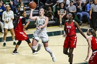 Ohio forward Gabby Burris (#41) attempts a shot during the fourth quarter of the Bobcats game against Western Kentucky on Thursday at the Convo. The Bobcats won 68-60 and advance to the Elite Eight of the NIT Tournament.