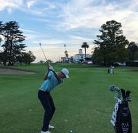 Peyton White hits a shot at the Córdoba Golf Club in Córdoba, Argentina in April. The former Ohio golfer is halfway through his first season on the PGA Latin America Tour. (Photo via White's Instagram, @peyton_white25)