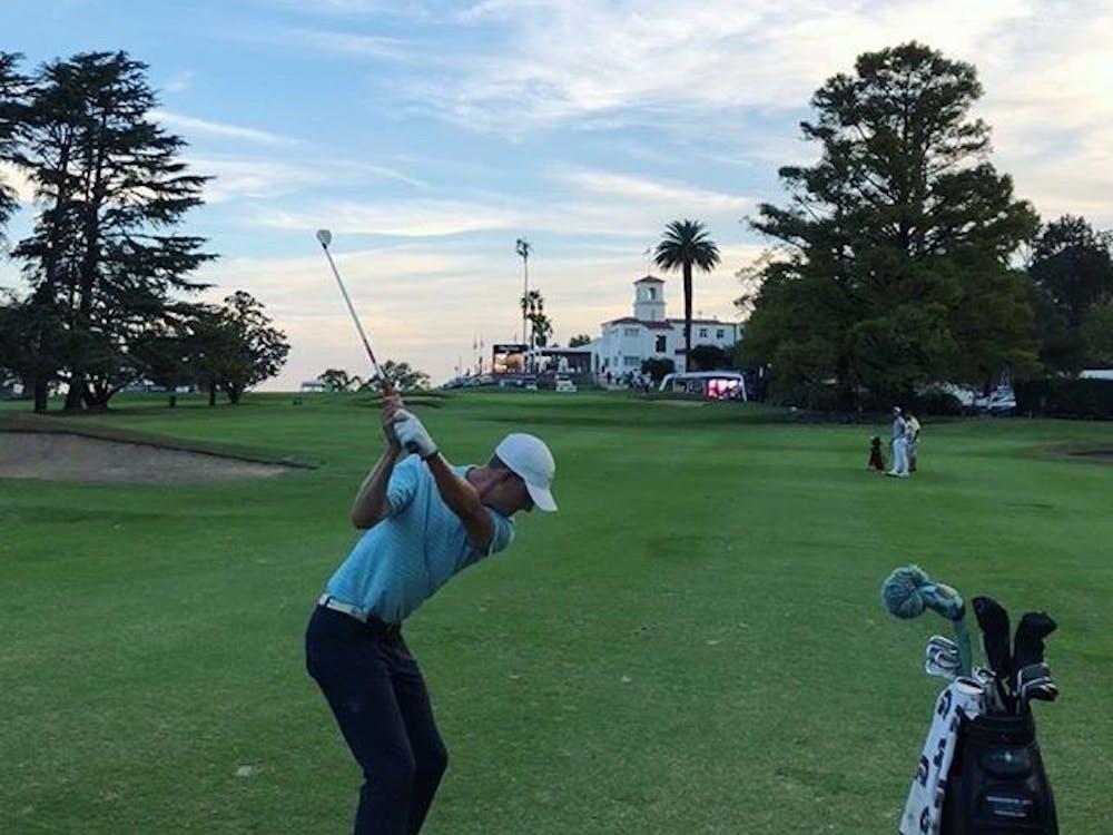 Peyton White hits a shot at the Córdoba Golf Club in Córdoba, Argentina in April. The former Ohio golfer is halfway through his first season on the PGA Latin America Tour. (Photo via White's Instagram, @peyton_white25)