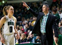 Ohio women's basketball head coach Bob Bolden shouts out instructions to his team during the second half of their game against Toledo on February 4. In his first season as head coach, the Bobcats went 9-21and 4-14 in MAC play, but are now perennial contenders to win the MAC.