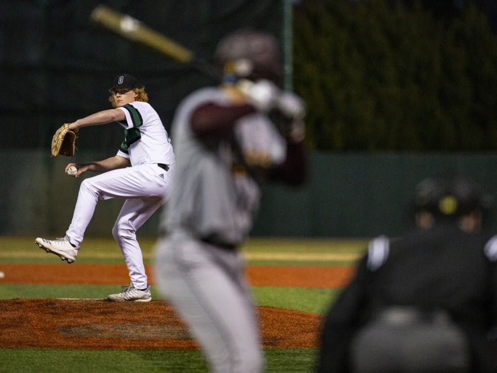 Ohio pitcher Edward Kutt IV (#18) throws a pitch during the Bobcats' game against Central Michigan on Friday, March 22, 2019, at Bob Wren Stadium. The Bobcats lost the first game of the series to the Chippewas 5-3.