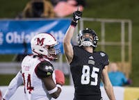 Brendan Cope celebrates after his touchdown during Ohio's game against Miami University on October 31, 2017. The Bobcats won 45-28. (Emilee Chinn   For The Post)