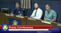 (From left to right) Mayor Steve Patterson, APD Chief Tom Pyle and Safety Service Director Andy Stone at the press conference on September 30, 2019.