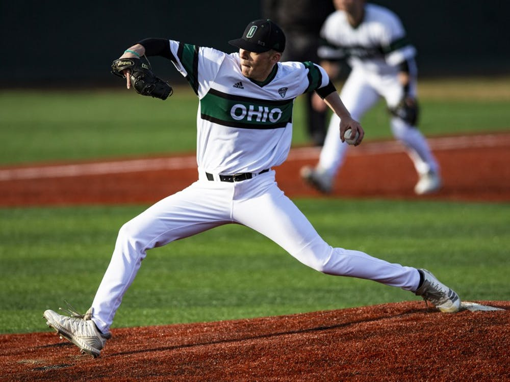 Ohio pitcher Eamon Horwedel (#42) throws a pitch during the Bobcats game against Dayton on Tuesday at Bob Wren Stadium. The Ohio Bobcats lost to the Flyers 12-5.