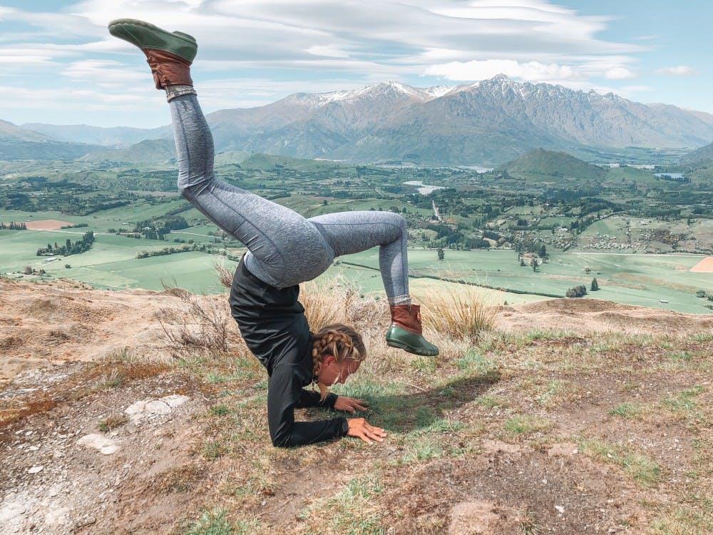 Jordyn Irelan holds a yoga pose in Queenstown, New Zealand. (Provided via Jordyn Irelan)