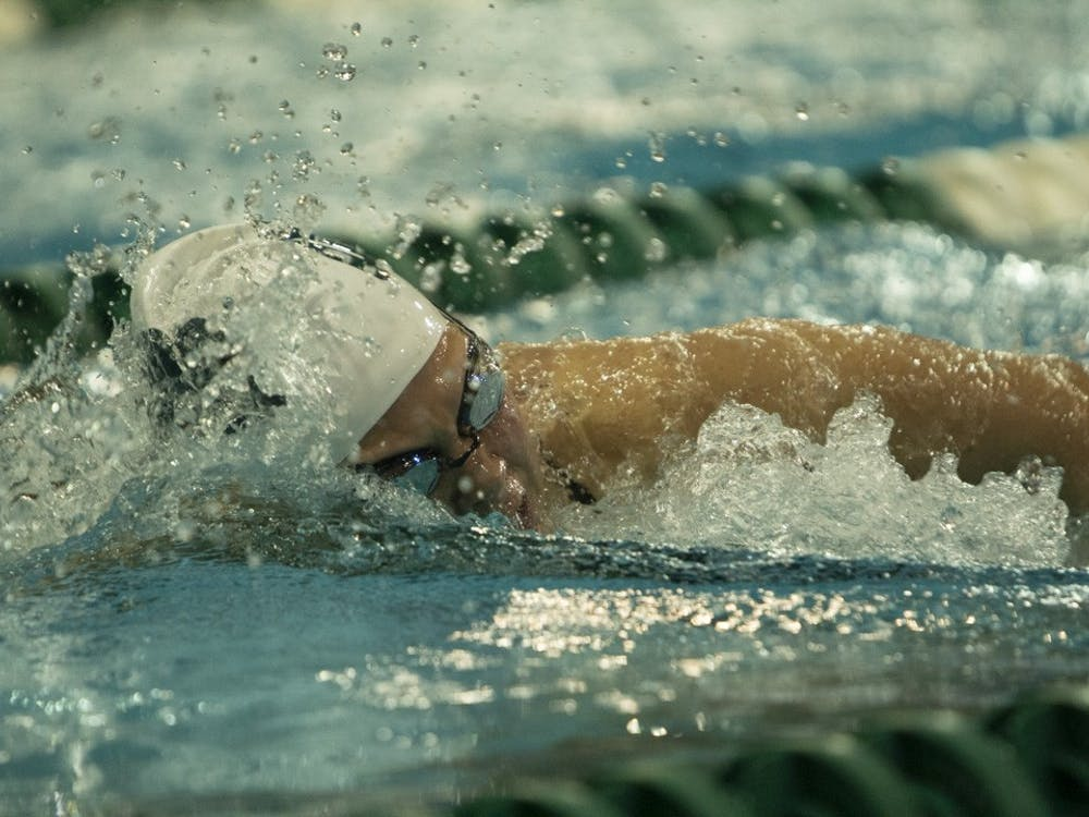 Bobcat, Katherine Garrity, in the lead during the 1000-yard freestyle during a meet against Akron on November 9, 2019.