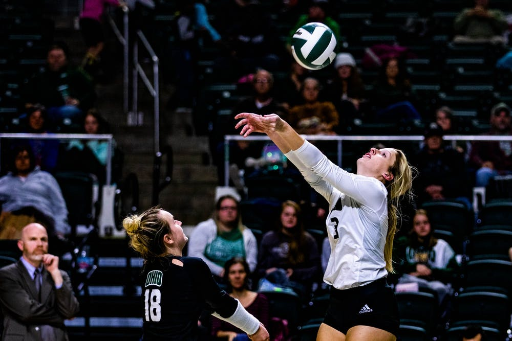 Volleyball: Lizzie Stephens' service ace lifts Ohio over Akron