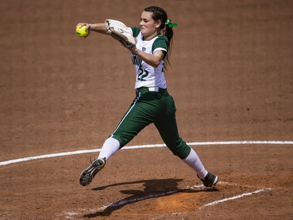 Ohio pitcher Madi McCrady (#22) throws a pitch during the Bobcats' game against Kent State on April 10. The Bobcats lost to the Golden Flashes 1-0.