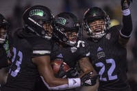 Ohio players celebrate a touchdown against Western Michigan on Nov. 1. (FILE)