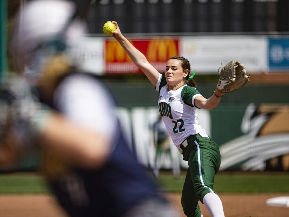 Ohio pitcher Madi McCrady (#22) throws a pitch during the Bobcats' game against Kent State on Wednesday. The Bobcats lost to the Golden Flashes 1-0.