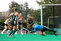Ohio's Alex Pennington makes a save during the Bobcats' game against Ohio State on September 17. (FILE)