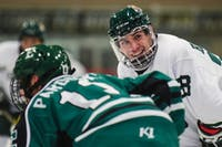 Freshman forward Ryan Higgins (#28) smiles during Ohio's game against Eastern Michigan on Saturday, Oct. 13. The Bobcats defeated the Eagles 8-1. (FILE)