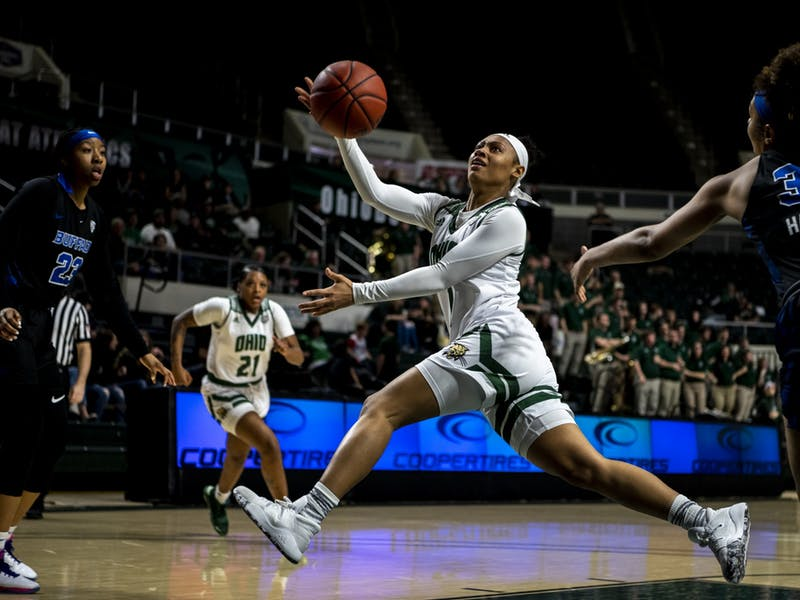 Ohio's CeCe Hooks (#1) beats Buffalo's defense in her run to the basket during the home game on Saturday, Feb. 29, 2020 in Athens, Ohio.