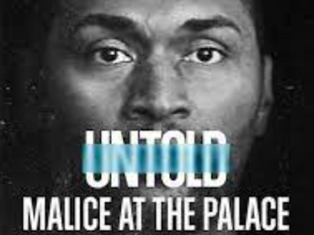 """'Untold: Malice at the Palace"""" brilliantly explains how perspectives on race, mental health and a toxic sports media came together to fan the flames of controversy on one of the NBA's most disturbing nights. (Photo provided via @distantpodcast on Twitter)"""