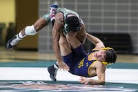 Ohio's Shakur Laney wrestles against Kent State in a match on Jan. 18. (FILE)