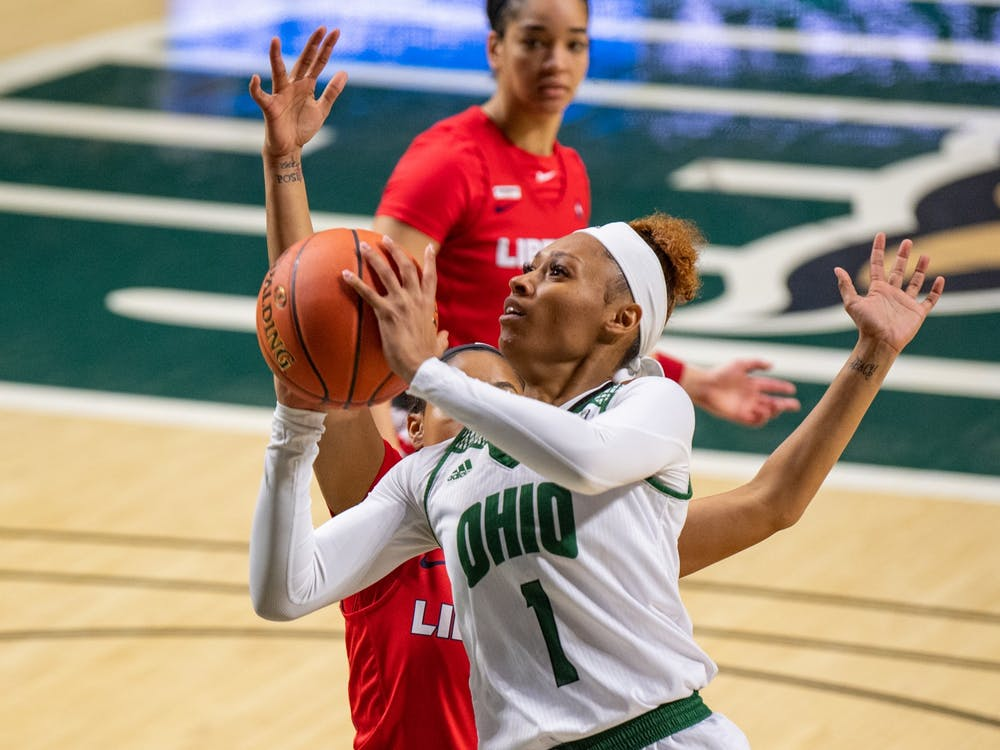 Ohio's Cece Hooks (#1) attempts a layup during Ohio's match against Liberty on Wednesday, Nov. 25, 2020, in The Convo. (FILE)