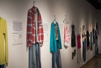 "The ""What Were You Wearing?"" art exhibit is pictured in the Trisolini Gallery in Baker Center on Thursday. The exhibit features stories of survivors of sexual assault."
