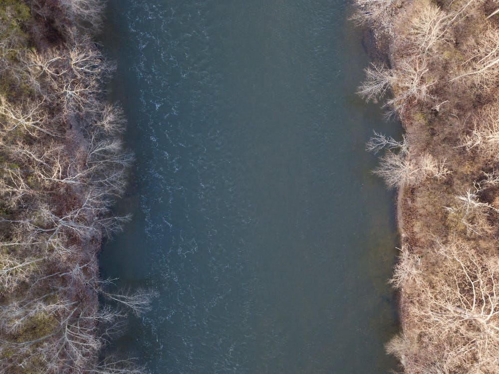 An aerial view of the National Wild and Scenic Little Miami River in Maineville, Ohio, on Dec. 3, 2020.