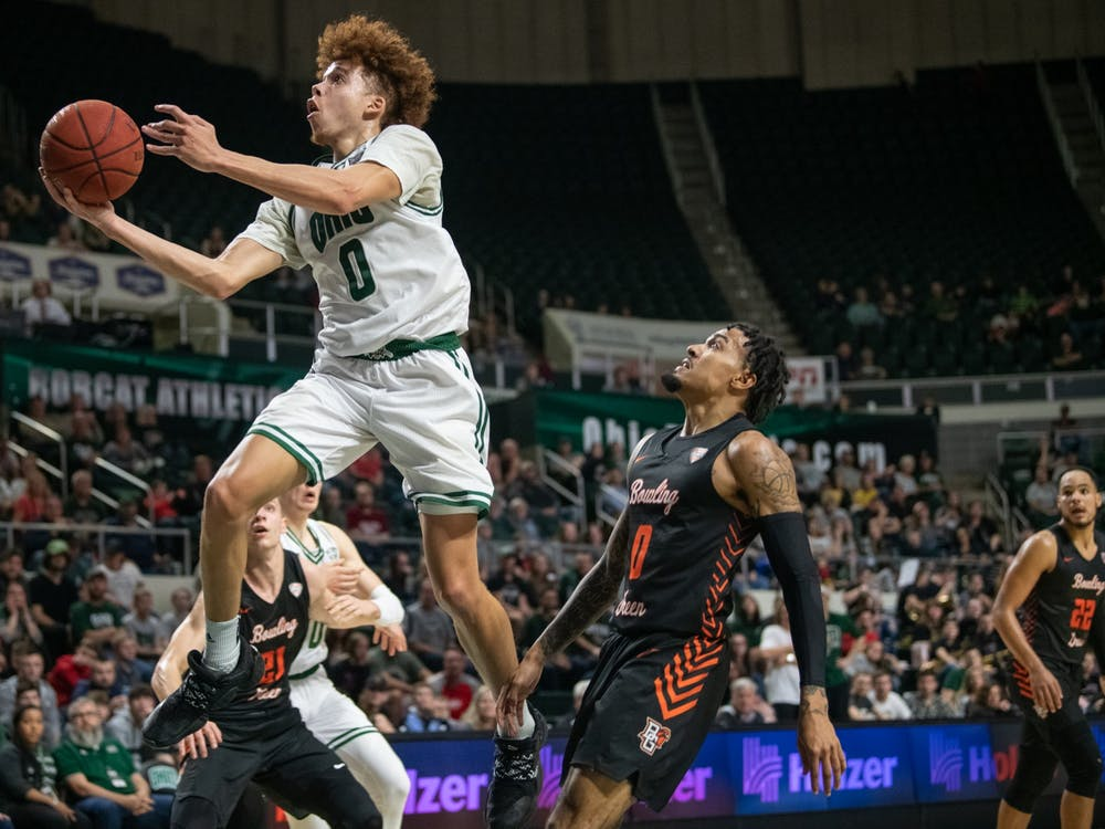 Jason Preston, of Ohio, attempst to score a basket during the game versus Bowling Green in the Convo on Saturday, January 11, 2019. Ohio lost 83-74. (FILE)